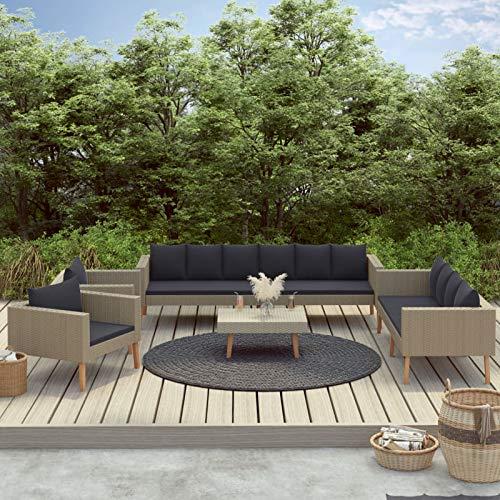 Festnight Juego de Muebles de jardín de 5 Piezas de Jardin Muebles de Patio al Aire Libre,4 Sofás+ Mesa de CentroTerraza, Piscina, Porche, Jardín, Balcón, Beige