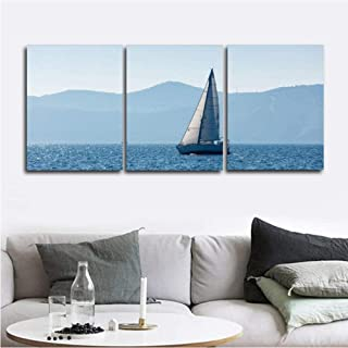 Plamc Canvas Painting Calligraphy Sea Sailboat Posters And Prints Art Wall Seaside Picture Living Room Modern Home Decorat...