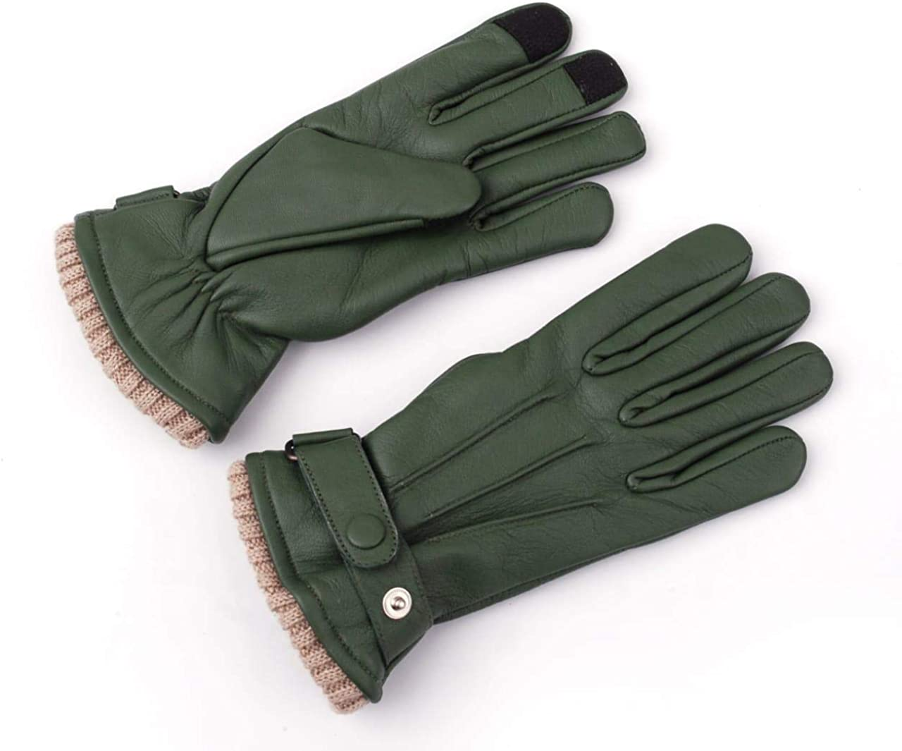 Women Genuine Sheep Leather Winter Dress Driving Riding Texting Gloves with Wool and Fleece Lining (Green, Large)