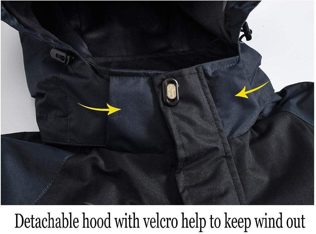 Coupe-vent donhobo Veste de pluie pour homme Imperm/éable Veste softshell avec capuche amovible Respirant Veste fonctionnelle dext/érieur