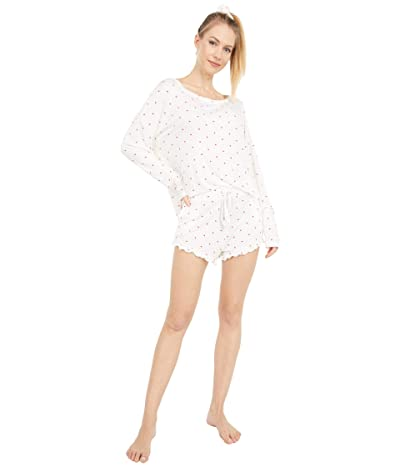 Plush Ultra Soft Jersey Pajama + Scrunchie Set (White/Red) Women