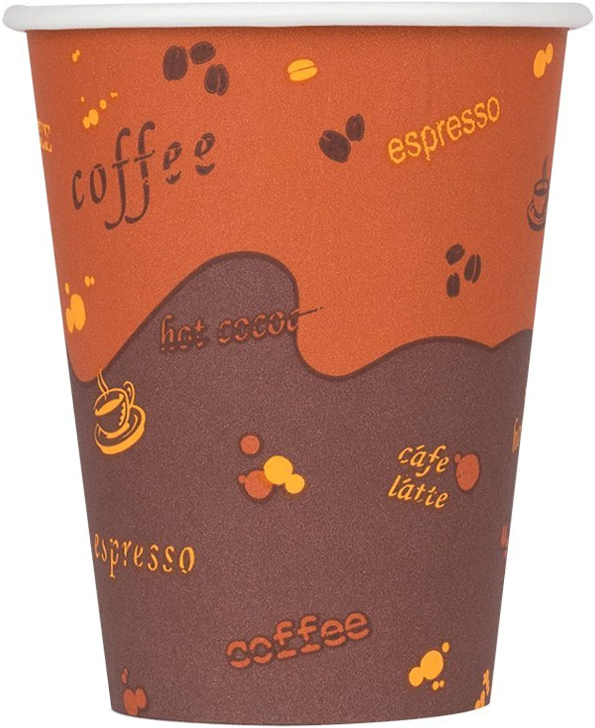 Karat C-K508 8 oz Paper Hot Cup (80mm Diameter), Stock Print (Case of 1000)