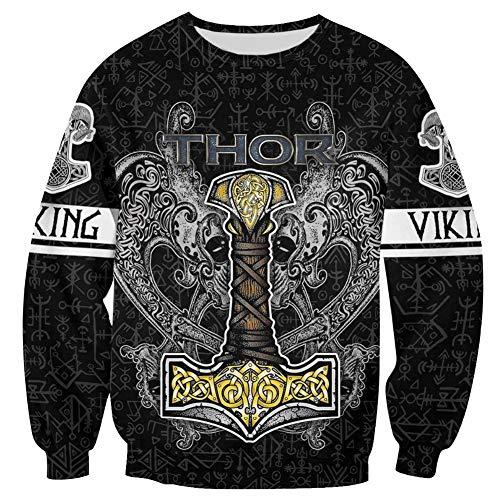 WDBAYXH Men Viking Thor's Hammer Tyr's Fenrir Sweatshirt Hoodie, Norse Mjolnir Tattoo Runes 3D Printed Zip Pullover Casual Jacket Tracksuit, Celtic Pagan Personality Streetwear,Sweatshirt,5XL