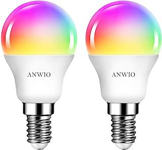 2 Unidades 5W Bombillas Inteligentes Golf LED E14 RGB WiFi, P45 Equivalente a 40W, 470 Lúmenes, Funciona con Alexa, Google Home y Smart Life, ANWIO.