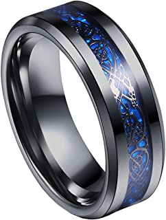 8mm Blue Black Dragon Pattern Beveled Edges Celtic Rings Jewelry Wedding Band for Men 7-14