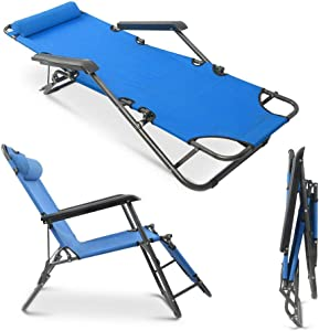 AZAMON Patio Garden Poolside Folding Chaise Lounge Chair Patio Outdoor Pool Beach Lawn Recliner Reclining Blue Color