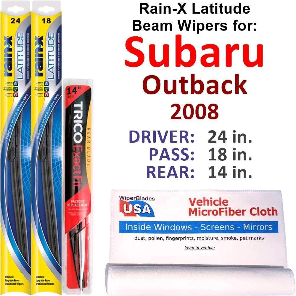 Rain-X Latitude Beam Wipers for Max 84% OFF 2008 Set Rear Finally resale start R Outback Subaru w