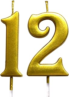 MAGJUCHE Gold 12th Birthday Numeral Candle, Number 12 Cake Topper Candles Party Decoration for Girl Or Boy