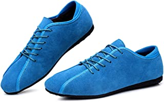 Xiang Ye Men's Flat-heeled Loafer Casual Shoes Fashion Sneaker Lace Up Genuine Leather Fleece Inside Round Toe (Color : Light Blue, Size : 43 EU)
