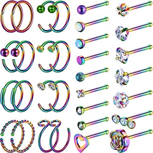 Chinco 32 Pieces C-Shaped Nose Ring L-Shaped Hoop Tragus Nose Studs Bone Curved Hoop Tragus Cartilage Hoop Piercing (C Shape, Bone Stud, Rainbow Color)