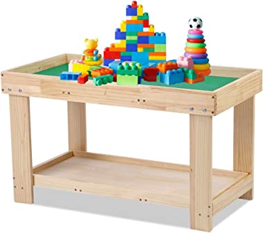 Greensen 2 in 1 Kids Activity Table Detachable Building Block Table Children Wood Play Table Desk Arts Crafts Table for Boys