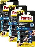 Pattex Sekundenkleber Gel Mini Trio/Lösungsmittelfreier Gel-Kleber/Transparent, tropffrei und wasserfest / 9 x 1g