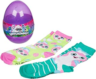 Hatchimals egg - 2 pair crew socks- one size fits most - foot size 3-9
