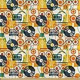 ABAKUHAUS Musik Stoff als Meterware, Kassettenradio Vinyl,