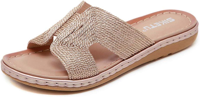 GIY Women's Strappy Flat Sandals Comfort Summer Open Toe Cork Slip On Soft Outdoor Slide shoes
