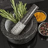 Homiu Pestle and Mortar Premium Natural Granite Solid and Durable Spice Herb Crusher Grinder Large 15.5 Centimetres Diameter (Granite)