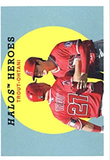 2018 Topps Archives Baseball #303 Shohei Ohtani/Mike Trout Los Angeles Angels Rare Short Print SP