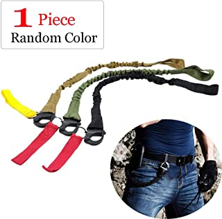 Quick Release Safety Lanyards,1 Pack 1.8ft Retractable Retention Strap Tactical Military Quick Release Wasit Bag Sling Safety Lanyard Sling Nylon Rope Bungee Strap Hunting Accessories Random Color