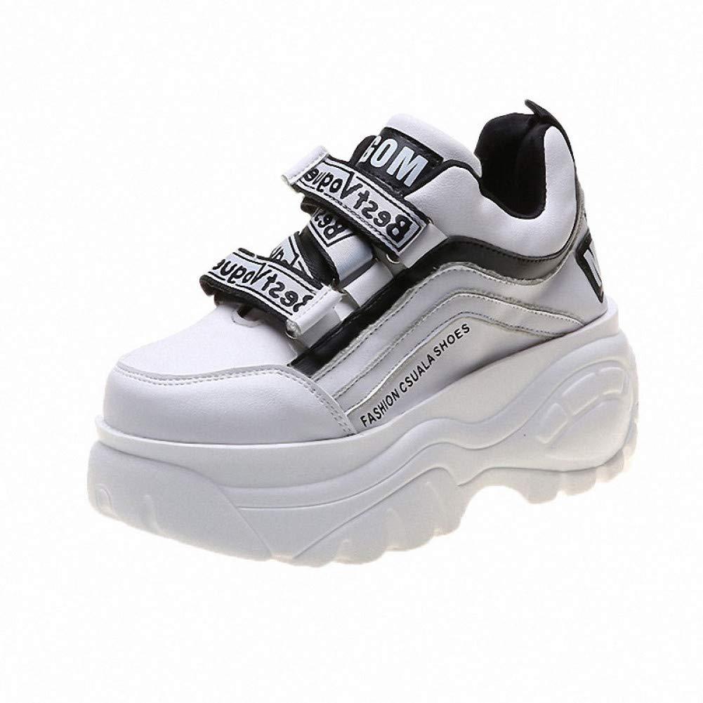 ASTAOT Zapatillas De Deporte De Mujer Zapatillas De Deporte De PU + Mesh Zapatillas De Deporte con Cordones De Zapatos Dobles Zapatillas Deportivas De Aumento De Altura Amarillo Naranja,5: Amazon.es: Deportes y