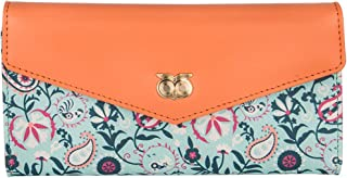 Chumbak Women's Synthetic Paisley Adventure Flap Wallet (Orange)