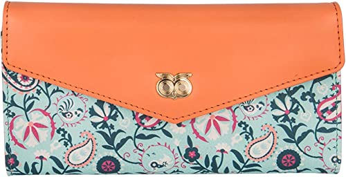 Women S Synthetic Paisley Adventure Flap Wallet Orange