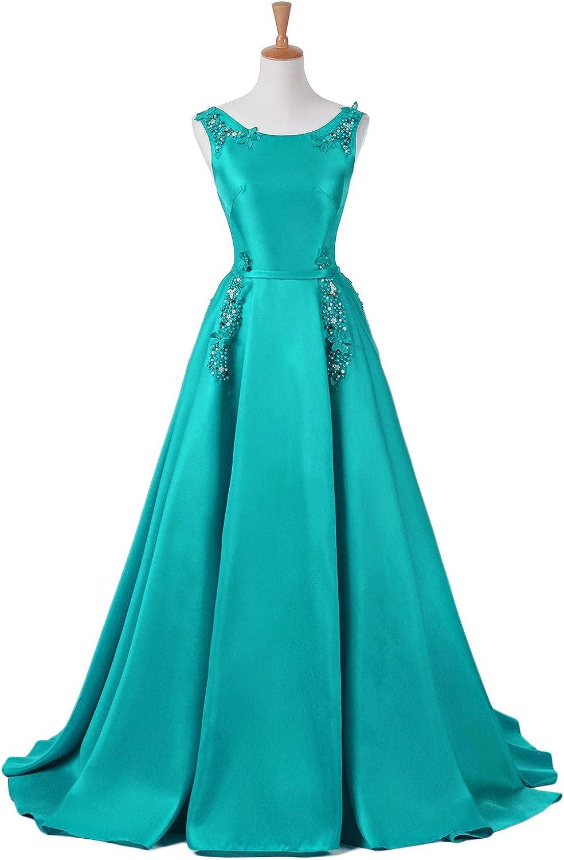 YSMei Women's Aline Long Evening Gown Sleeveless Satin Prom Dress ON046
