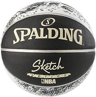 Spalding NBA 素描Swoosh 户外尺寸 7 (534Z) 球篮球,黑色/白色,7 码