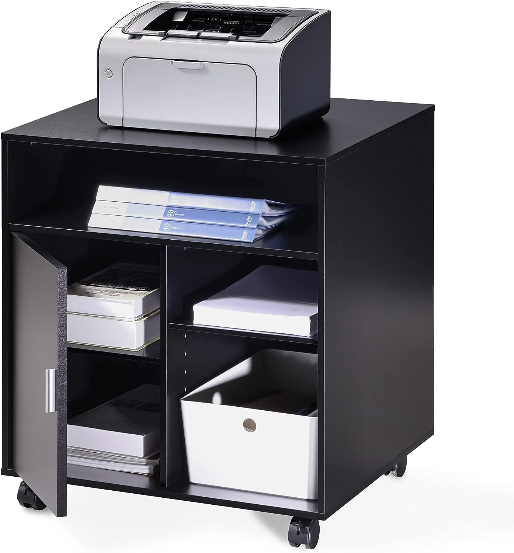 FITUEYES Soporte para Impresora con Ruedas Madera Negro 5 Compartimientos 1 Puerta Carrito Organizador para Oficina Casa 60x50x66.4cm PS406001WB