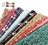 Homewit - Papel de regalo para Navidad, hoja de papel de regalo, 8 estilos retro y estilo navideño, hojas embaladas en 2 rollos, 44,5 x 70 cm por hoja, ideal para felicitaciones