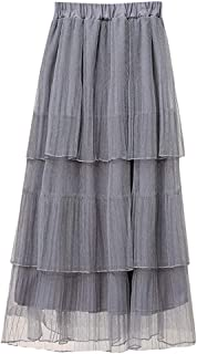 Zlolia Falda de Tul Plisada de Doble Capa para Mujer, Cintura Alta, Faldas elásticas de Patchwork