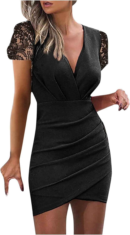Women's Deep V Neck Short Sleeve Ruched Bodycon Mini Dresses Slim Ruffles Floral Lace Evening Pencil Dress