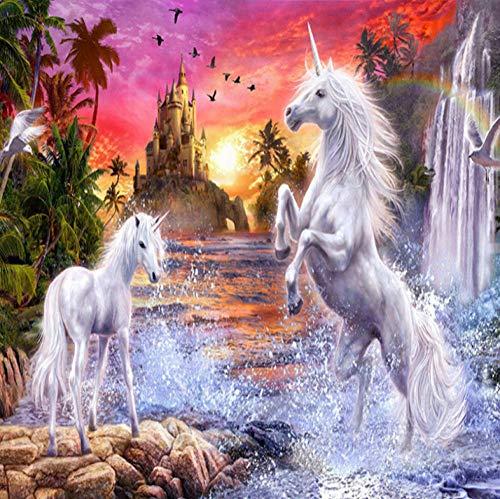 Muurschildering Niet-geweven Wit Paard Eenhoorn, Kasteel Fotobehang - Moderne Decoratieve voor Kids Slaapkamer Keuken Woonkamer Badkamer 300x210cm