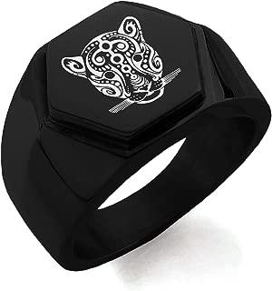 Stainless Steel Mayan Jaguar Rune Hexagon Crest Flat Top Biker Style Polished Ring