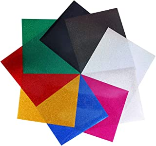 9PCS Glitter Heat Transfer Vinyl Sheets 9 - Colors Iron On PU HTV Sheets for T-Shirt Silhouette Cameo Cricut Machines Craft Cutters 12 by 10 Inches