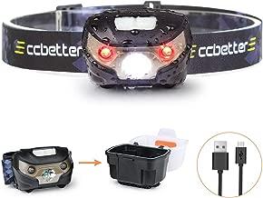 Stirnlampe, ccbetter Kopflampe Joggen Stirnlampen LED-stirnlampe Aufladbar USB Hellste CREE mit Rot Lampe für Sport Bergsteigen Camping Angeln Fahrrad usw (USB Kabel + Lichtkasten)
