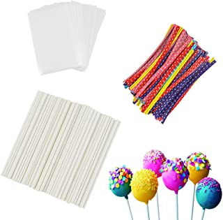 360Pcs 6inch Cake Pop Sticks, Lollipop Cake Pops, Cake Pops Making Tools Set Including 120 Cake Pop Bags, 120 Cake Pop Sti...