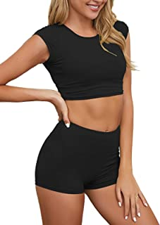 FAMITION Women 2PCS Shorts Set Ribbed Short Sleeve Crop Top Leggings Activewear
