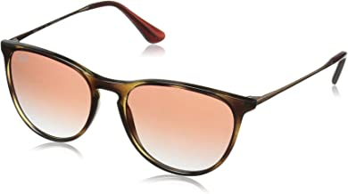 RAY-BAN JUNIOR Kids' RJ9060S Erika Kids Round Sunglasses, Havana/Red Gradient Mirror, 50 mm