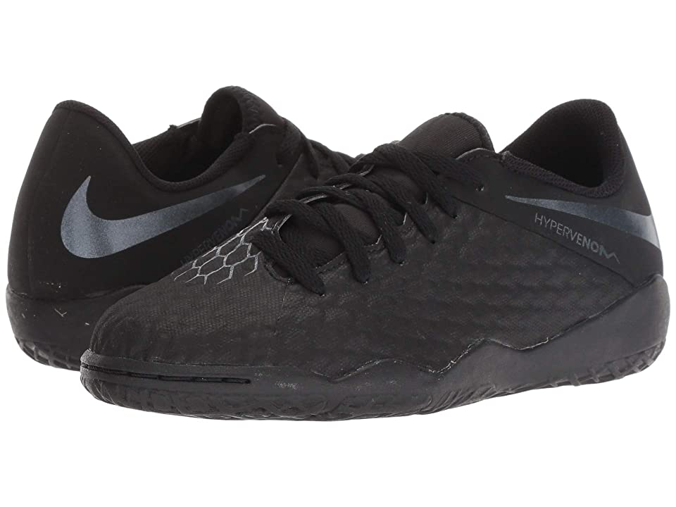 Nike Kids Jr. Hypervenom PhantomX 3 Academy IC Soccer (Toddler/Little Kid/Big Kid) (Black/Black/Light Crimson) Kids Shoes