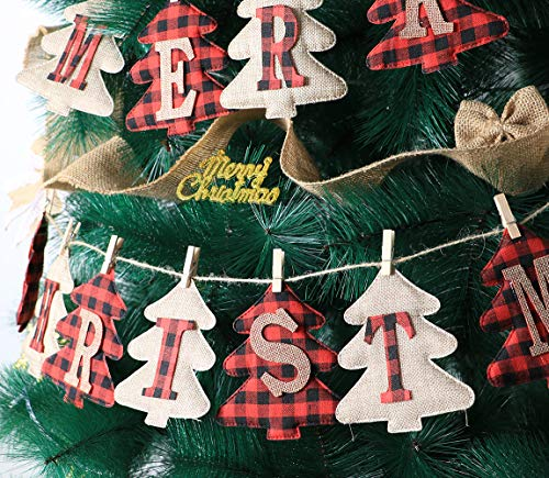 Merry Christmas Burlap Banner, Burlap and Buffalo Plaid Tree Shaped Christmas Decorations Indoor, Unique Hand-Sewn Christmas Decor, Christmas Ornaments for Wall, Window, Tree and Fireplace Decoration