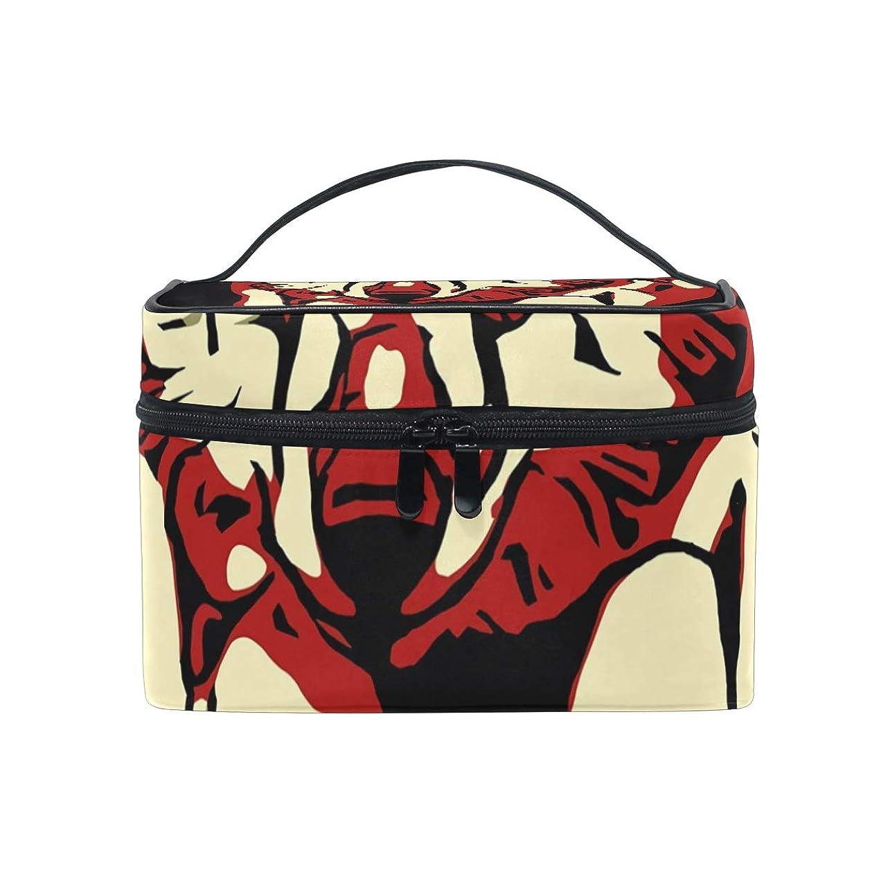 取り除く炎上哺乳類メイクボックス オオカミ柄 化粧ポーチ 化粧品 化粧道具 小物入れ メイクブラシバッグ 大容量 旅行用 収納ケース