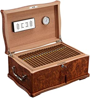 Cigar Humidors Cigar Insulation Box Cedar Wood Cigar Humidor Art Cigar Box Large Capacity Moisture Cabinet (Color : Brown, Size : 43.5 * 29 * 20.5CM)
