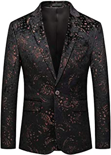 Allthemen Men's Suit Tuxedo Jackets Floral Print Blazer Single Breasted One Button Casual Wedding Dinner Prom Dress Party ...