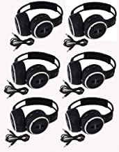 "6 Pack of Two Channel Folding Adjustable Universal Rear Entertainment System Infrared Headphones 6 Additional 48"" 3.5mm Auxiliary Cords Wireless IR DVD Player Head Phones Car TV Video Audio Listening"