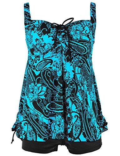 Septangle Women's Plus Size Bathing Suits Paisley Print Two Piece Swimsuit (18, Blue)