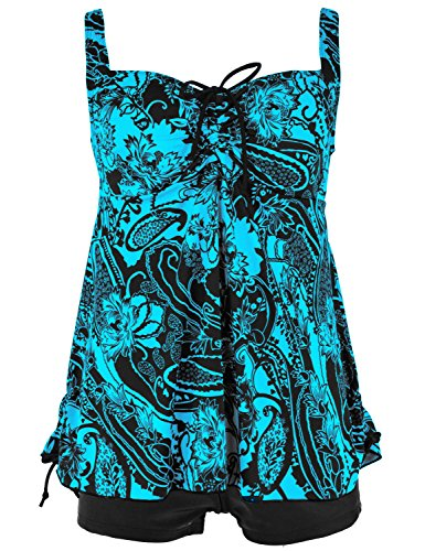 Septangle Women's Plus Size Bathing Suits Paisley Print Two Piece Swimsuit (22, Blue)