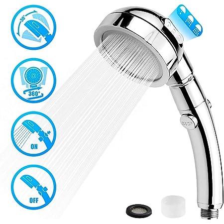 5 Mode High Pressure Shower Head Water-saving Rotating Top Sprinkler Shower Head