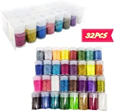 32 Colors Fine Slime Glitter Powder,Glitter Powder Sequins for Crafts,Multi Purpose Glitter Dust for Art,Craft,Body Face Hair Makeup,1 Box