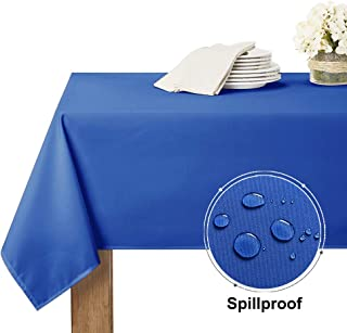 RYB HOME Table Linen Cover Dust-Proof Spillproof for Kitchen Dinning Tabletop Decoration, Rectangle Tablecloth for Summer Holiday Picnic/Event Accessories, 60 x 84, Royal Blue