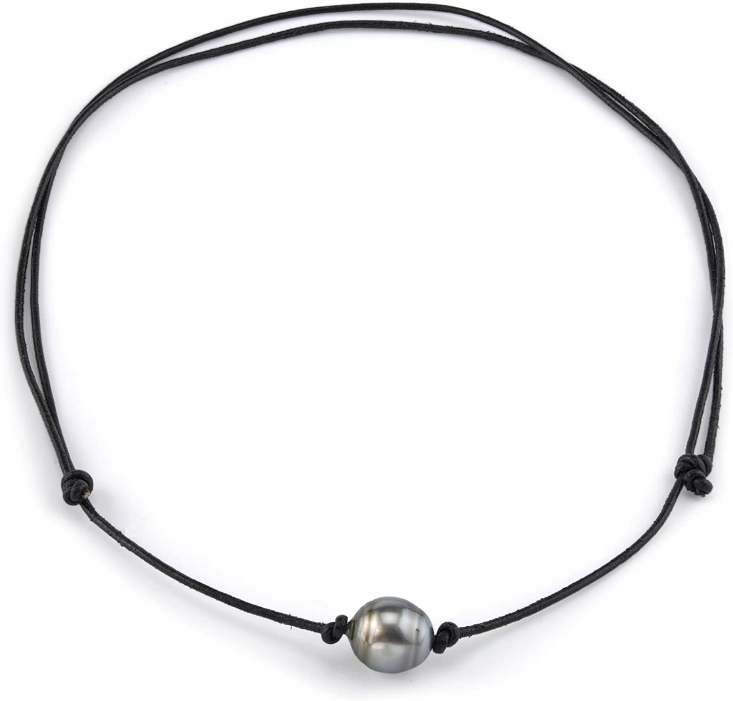 THE PEARL SOURCE 10-11mm Baroque Genuine Black Tahitian South Sea Cultured Pearl Adjustable Leather Necklace for Women